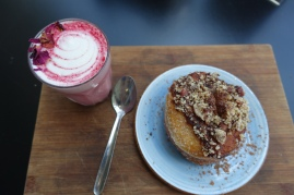 Red velvet latte and vegan donut, Cardamom Pod Broadbeach