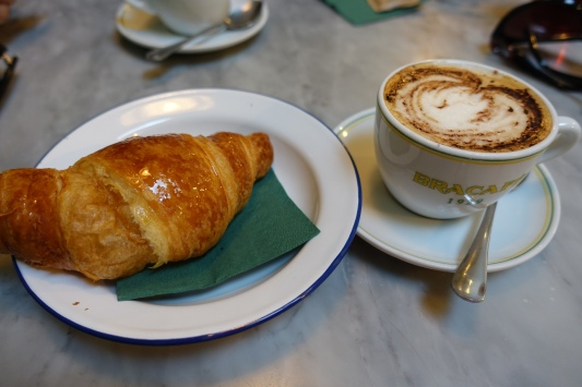 Buttery vegan croissant and soy cappuccino from Strata